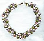 Pink, mauve & green Keishi cornflake pearl Necklace PRL3076