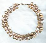 Peach Biwa cornflake pearl Necklace PRL3081