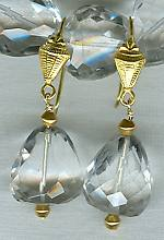 High quality Quartz Crystal faceted nugget earrings FAC1451