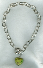 Hammered fine Silver chain and Venetian glass heart necklace VEN4251