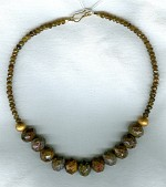Faceted Pietersite and amber Tourmaline necklace FAC1355