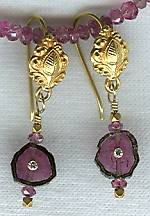 Watermelon Tourmaline slice set Earrings FAC1405