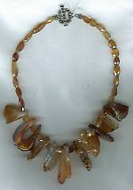 Carnelian nuggets with faceted Hessionite Garnet Necklace NUG2269