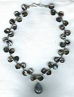 Keishi cornflake pearl and Labradorite drop Necklace PRL3099