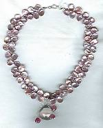 Sea pink Keishi pearl and Rhodolite Garnet briolette Necklace PRL3101