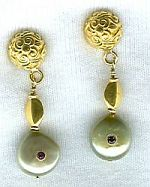 Green Biwa coin pearl earring set CC6025