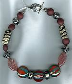 Gray red silver Venetian glass necklace VEN4169