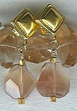 High quality faceted Sunstone nugget earrings CC6035