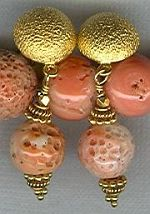 Natural 10mm Coral bead earrings CC6075