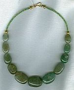 Emerald nuggets with faceted Tsavorite Garnet rondel necklace CC6081