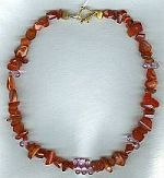 Mexican Fire Opal and faceted pink Topaz Necklace CC6085