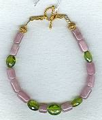 Pink Tourmaline and Peridot tube bracelet FAC1597