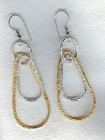 Vermeil/Silver hammered loop earrings FAC1963
