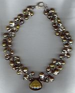 Green/gold baroque Freshwater pearls and whiskey Quartz necklace PRL3156