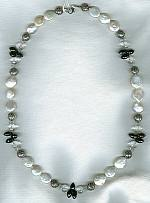 Spinel with Rock Crystal beads and Biwa coin pearl necklace FAC1607