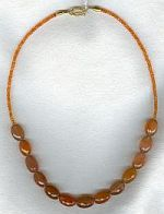 Sunstone ovals and 3mm faceted Carnelian necklace CC6115