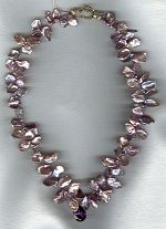 Lavender South Sea Keishi Pearls with faceted Amethyst drop necklace PRL3158