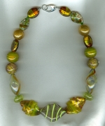 Lime/gold Venetian glass necklace VEN4254