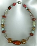 Mint/Cherry Venetian glass necklace VEN4255