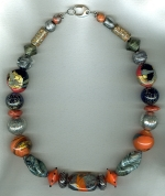 Fire/smoke Venetian glass necklace VEN4258