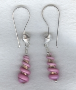 Pink Venetian glass cone earrings VEN4270