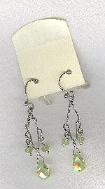 SPECIAL PURCHASE!!  Lime Green faceted CZ drop earrings FAC8142