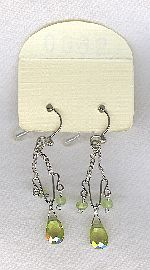 SPECIAL PURCHASE!!  Olive green faceted CZ drop earrings FAC8143