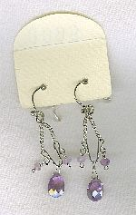SPECIAL PURCHASE!!  Purple faceted CZ drop earrings FAC8144