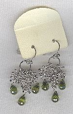 SPECIAL PURCHASE!!  Olive Green faceted CZ drop earrings FAC8147