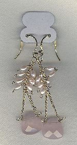SPECIAL PURCHASE!! Freshwater seed pearl and Rose Quartz drop earrings PRL3190