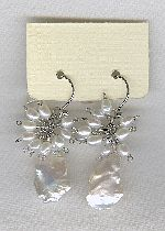 SPECIAL PURCHASE!! Freshwater seed & Keishi pearl and Zirconia drop earrings PRL3196