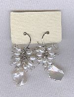 SPECIAL PURCHASE!! Freshwater seed & Keishi pearl and Cubic Zirconia drop earrings PRL3198