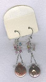 SPECIAL PURCHASE!! Biwa Coin pearl and tourmaline rondel earrings PRL3199