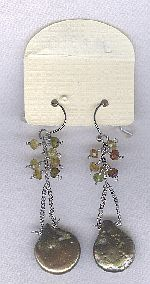 SPECIAL PURCHASE!! Biwa Coin pearl and tourmaline earrings PRL3200
