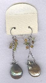 SPECIAL PURCHASE!! Biwa Coin pearl and faceted tourmaline earrings PRL3201