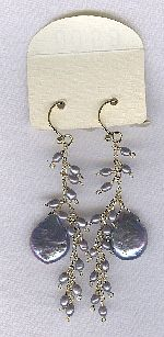 SPECIAL PURCHASE!! Biwa Coin and Freshwater seed pearl earrings PRL3202