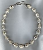 Hand made, Thai Silver flowered oval necklace FAC1982