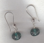 Turquoise lampworked glass earrings VEN4292