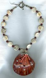 "Conch shells, faceted Garnets, Coral and Spiney Oyster shell Necklace"" NUG2382"