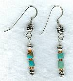Kingman Mine Turquoise and whiskey Citrine earrings NUG2446