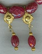 Faceted Ruby oval earrings FAC1867
