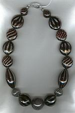 Black swirl blown Venetian glass Necklace VEN4205