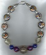 Blue yellow orange and silver confetti Venetian glass Necklace VEN4206