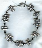 Silver Biwa pearl and Onyx rondell necklace PRL3119