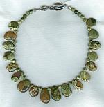 Green and burgundy Rhylolite necklace NUG2460