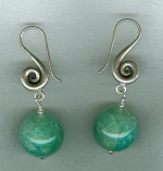Turquoise green Russian Amazonite round earrings NUG2703