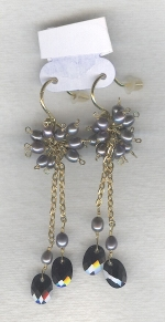SPECIAL PURCHASE!!  Black faceted CZ drop earrings FAC8081