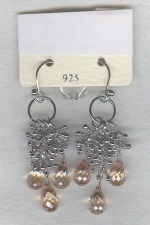 SPECIAL PURCHASE!!  Pink faceted CZ drop earrings FAC8082