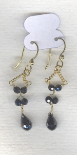 SPECIAL PURCHASE!!  Black faceted CZ drop earrings FAC8098