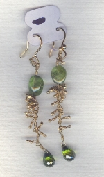 SPECIAL PURCHASE!!  Green faceted CZ drop earrings FAC8100